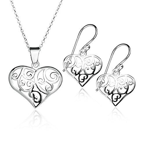 925 Sterling Silver Filigree Heart Pendant Necklace Earrings Set | Friendship Boho Delicate Jewelry