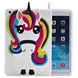 New iPad 9.7 inch 2017 Case Unicorn, Awsaccy(TM) Cute Cool 3D Unicorn Horse Cartoon Animal Rainbow Soft Silicone Rubber Gel Case Back Protection Cover for New iPad 9.7 inch 2017 Release A1822 A1823