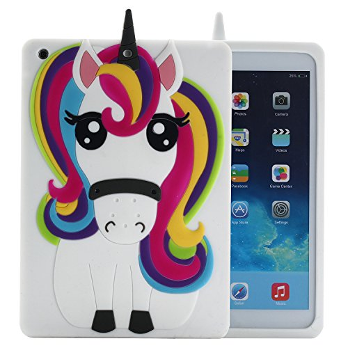iPad Mini 1 2 3 Case Unicorn, Awsaccy(TM) Cute Cool 3D Unicorn Horse Cartoon Animal Rainbow Soft Silicone Rubber Gel Case Back Protection Cover for Apple iPad Mini 3 2 1
