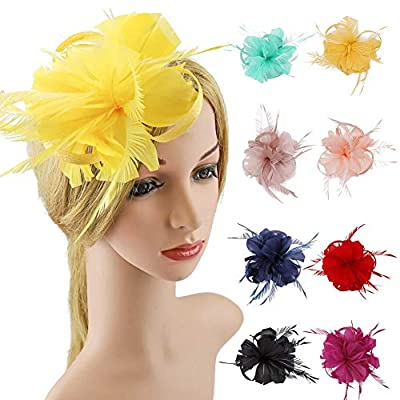 ACTLATI Fashion Flax Hair Clip Feather Barrette Hairpin Party Girls Women Fascinator Headband Cocktail Hat