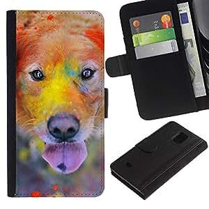 Rainbow Holi Paint Golden Retriever Dog - la tarjeta de Crédito Slots PU Funda de cuero Monedero caso cubierta de piel Samsung Galaxy S5 Mini, SM-G800