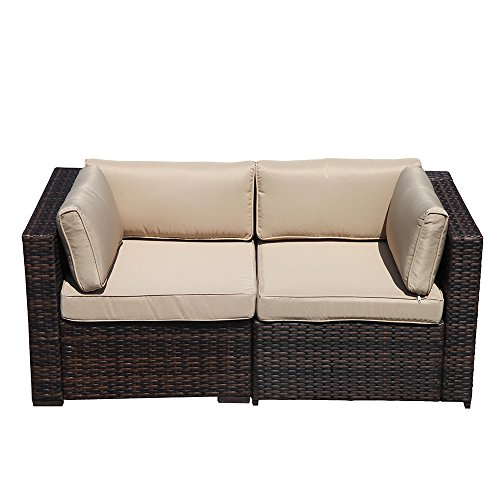 Cheap Super Patio Loveseat, 2 Piece Outdoor Furniture Set, All Weather Wicker Corner Sofas Love Seat Thick Beige Cushions, Steel Frame, Brown