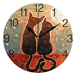 senya Cats in Love with Moon Design Round Wall Clock, Silent Non Ticking Oil Painting Decorative for Home Office School Clock Art