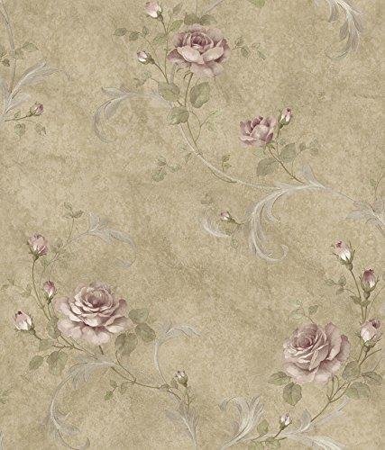 (Chesapeake ARS26002 Gracie Sage Floral Scroll Wallpaper, Brown)