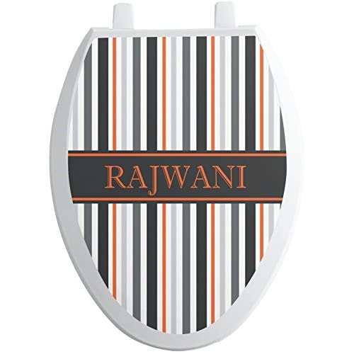 on sale Gray Stripes Toilet Seat Decal - Round (Personalized)