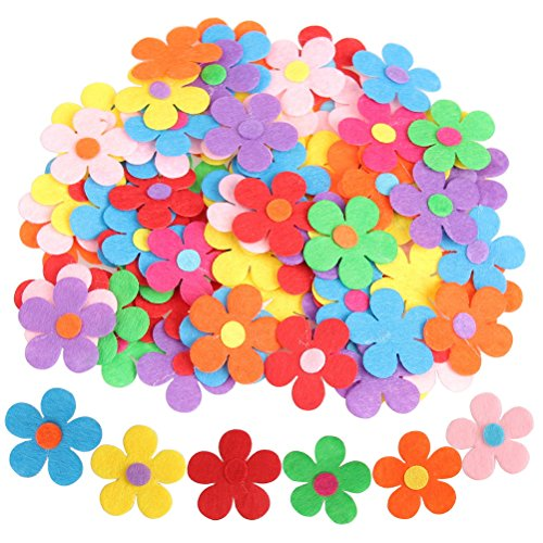 Pengxiaomei 100 Pieces Craft Felt Flowers, Fabric Flower Embellishments, Colorful Flowers for DIY Decoration