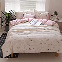 3 Piece Children Bedding Sets Full/Queen(1 Duvet Cover + 2 Pillowcases) -Cat Print Kids Duvet Cover Sets for Kids Girls -Soft Cotton Kids Pink Quilt Comforter Covers for Bedding Collection,Cats