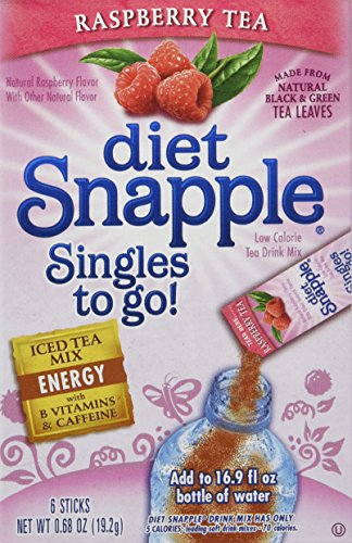 (Diet Snapple Singles to Go Raspberry (6 Sticks in each box) 4 BOXES)