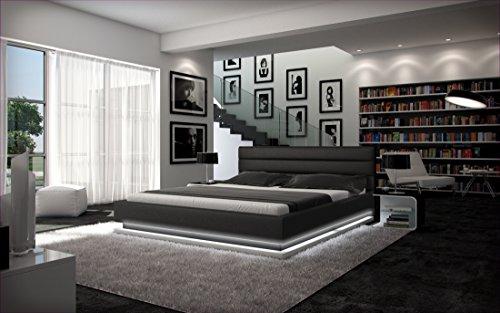 Polster-Bett 140x200 cm schwarz aus Kunstleder mit LED-Beleuchtung am Fuß des Bettes   Inapir   Das Kunst-Leder-Bett ist ein edles Designer-Bett   Doppel-Bett 140 cm x 200 cm in Leder-Optik, Made in EU