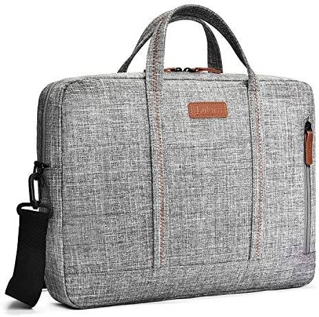 CoolBELL Slim Shoulder Bag 15.6 Inches Laptop Messenger Bag Nylon Briefcase Satchel with Removable Shoulder Strap Compatible with MacBook/Lenovo/Asus/Dell (Grey)