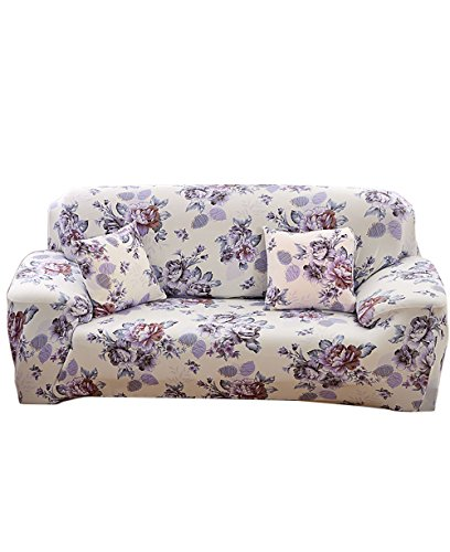Elvoes Floral Printed Sofa Cover Anti-Slip Elastic Slipcover Stretch Polyester Fabric Soft Furniture Protector Couch Cover (Three seater(74''-90''), Anny Garden) from inrisesgrand