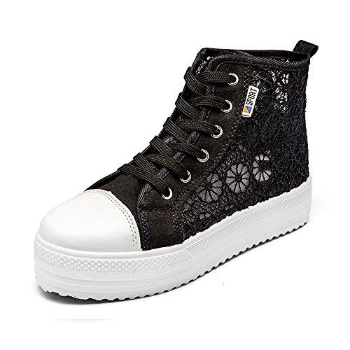 Mujer Zapatos Depotiva Zapatillas Plataforma Verano Casual Talón 3.8cm Negro Blanco 35-42 High top Negro Los tamaños asiáticos del zapato son más pequeños un patio que tamaño de la UE, eligen por favor un tamaño más grande, O elegir el tamaño de acuerdo a