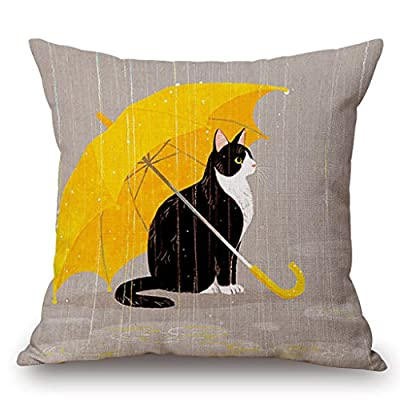JES&MEDIS Cat Cotton Linen Decorative Cushion Cover Pillow Case,18x18inch