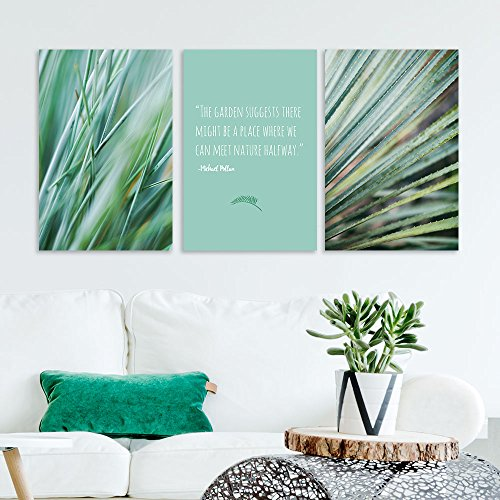3 Panel Green Plants with Inspirational Garden Quotes x 3 Panels