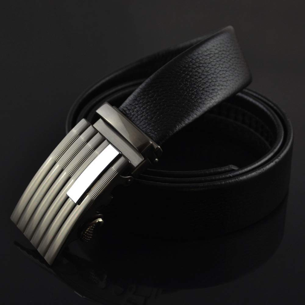 DENGDAI Mens Belt Leather Belt Automatic Buckle Belt Length 110-130cm