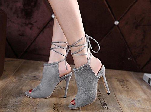 LvYuan-mxx Zapatos de los altos talones de las mujeres / verano del resorte / cordón atractivo / oficina y partido de la carrera y vestido de noche / talón de estilete / sandalias , gray , us6 / eu36  GRAY-US6EU36UK4CN36