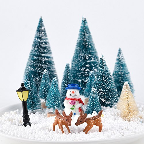 Reindeer Kuuqa Mini Assorted Pine Trees Bottle Brush Trees with Snowmen Mini Garden Wooden Bench Set of 31 Street Lamps Miniature Ornaments for Miniature Fairy Garden Village Decoration Ornaments