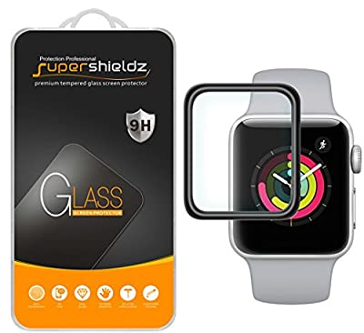 [2-Pack] Supershieldz for Apple Watch 38mm (Series 3/2/1) Tempered Glass Screen Protector, [Full Cover][3D Curved Glass] Anti-Scratch, Bubble Free, Lifetime Replacement Warranty (Black)