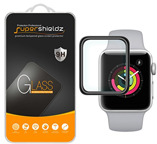 [2-Pack] Supershieldz for Apple Watch 38mm (Series 3/2/1) Tempered Glass Screen Protector, [Full Cover][3D Curved Glass] Anti-Scratch, Bubble Free, Lifetime Replacement (Black)