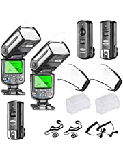 Neewer NW565EX E-TTL Slave Flash Speedlite Kit for Canon DSLR Camera,Include:(2) TTL Flash+(1) 2.4G Wireless Trigger(1 Transmitter,2 Receiver)+(2) Soft&Hard Diffuser+C1/C3 Cables+(2) Lens Cap Holder