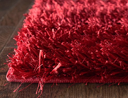 iCustomRug Mercedes Best Indoor Fluffy Shag Area Rug 5ft0in x 7ft6in (5'x8') In Red