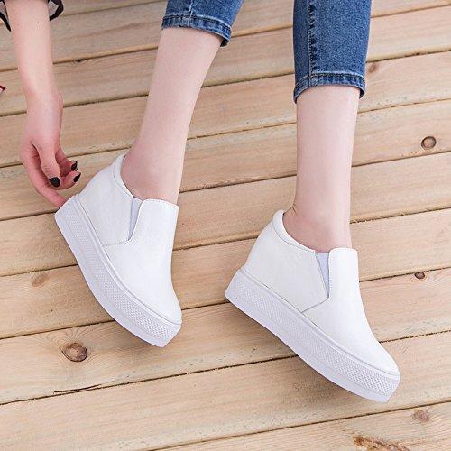 KHSKX-Dicke Leder Schuhe Unten Erhöhen Pedal - Pedal Faul Schuhe Damenschuhe Forty