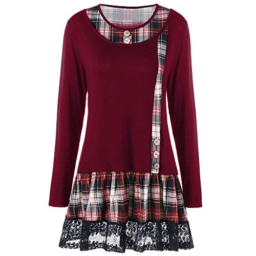 Fringe Mini Lamp - ANJUNIE Retro Skirt Women Casual Lace Plaid Printing Patchwork Dress Long Sleeve Mini Dress(Red,XL)