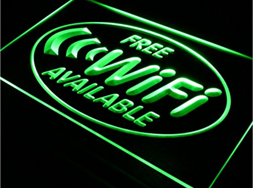 "Free Wifi Available LED Open Sign w/ Door Window Wall Hanging Chain Acrylic Signage Plaques Banner - Plug In Night Light Up Box Illuminated Marquee Letter Home Business Decoration (16""x12"", Green)"