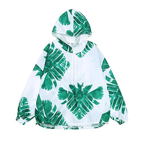 (ワンース) Wansi ラッシュガード レディース パーカー リーフ柄 夏 ショート丈 紫外線対策 UVカット フード付き 爽やか グリーン