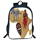 Print Black Double-deck Rucksack,Safari,Africa Map and Tribal Ethnic Cultural Symbols with a Native Local Man Art Work Print,Multicolor,for Kids,Pictures Print Design.15.7''x 11.8''x 6.3''