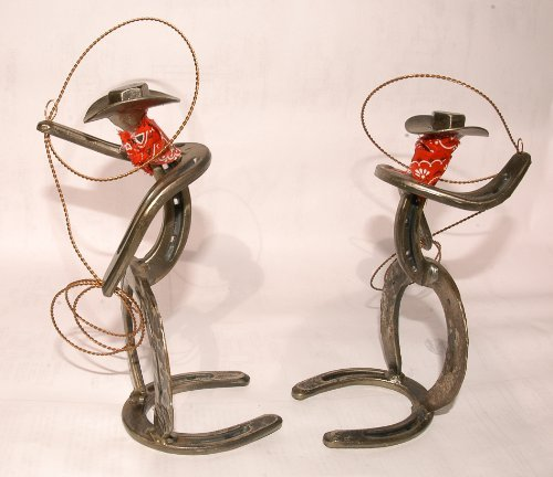 Roping Cowboy Horseshoe Bookends