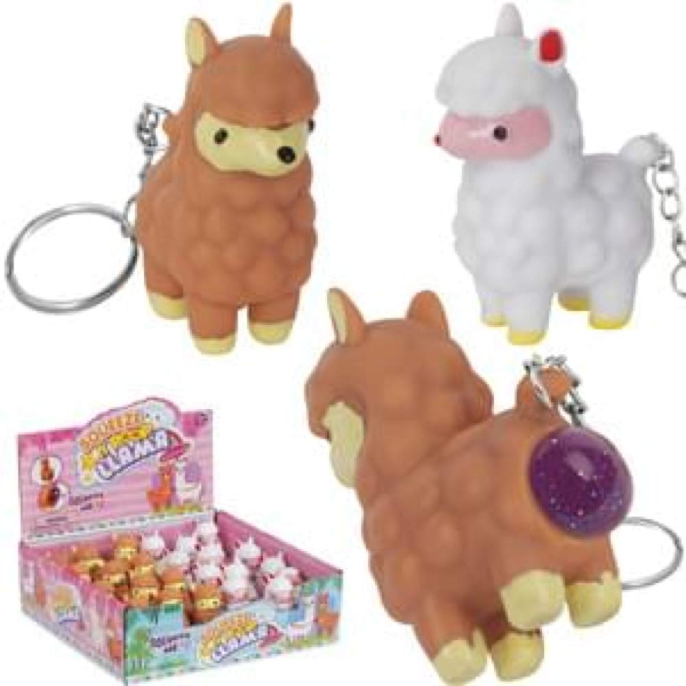 Brown White Llamas PMT Holdings LTD Pooping Llama Keychain Display Case 24 Keychains