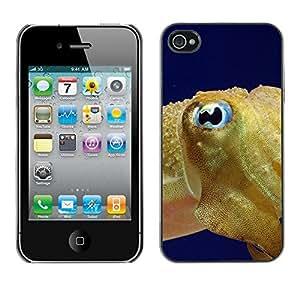 Be Good Phone Accessory // Dura Cáscara cubierta Protectora Caso Carcasa Funda de Protección para Apple Iphone 4 / 4S // Fish Blue Eye Golden Ocean Swim Blue Sea