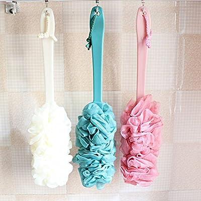 "2 Pcs Bath Body Wash Brush,Soft Loofah Back Scrubber for Men & Women,Long Handled Shower Exfoliating Mesh Brush with Luffa Pouf Sponge,17""x 5"""