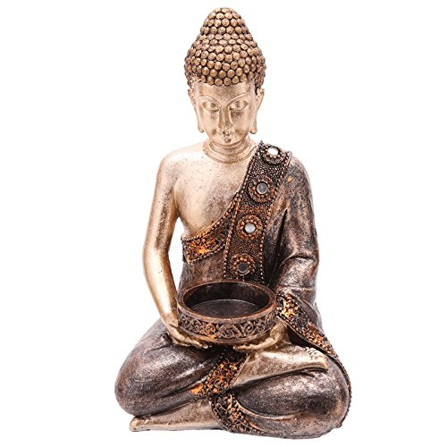 Puckator Bud260 candle Holder Brown/gold Resin Thai Buddha Statue 11 x 9 x 19 cm