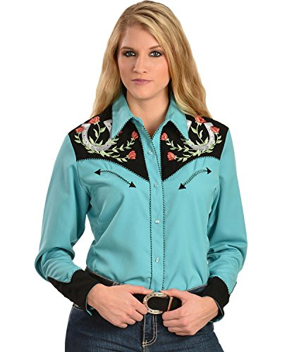 Scully Western Lady Shirt - Scully Women's Horseshoe Embroidered Retro Western Shirt Turquoise Large