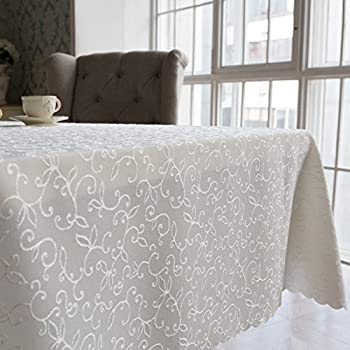 "Turkish Tablecloth Polyester Table Linen, Stain Resistant, Washes Easily, Non Iron, Great for Thanksgiving or Christmas Dinner, Wedding, Parties, IVORY (Square 70""x70"")"