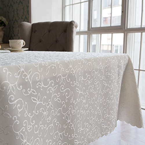Turkish Tablecloth Polyester Table Linen, Stain Resistant, Washes Easily, Non Iron, Great for New Year Eve or Christmas Dinner, Wedding, Parties, Ivory (Rectangular 60