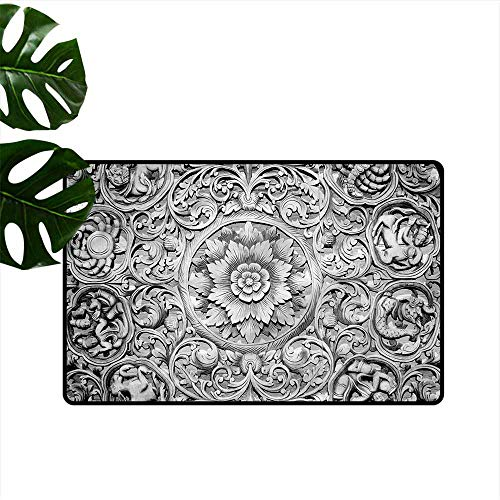 Outdoor Doormat Modern Wood Carving Effect Floral Hard and wear Resistant W20 xL31]()