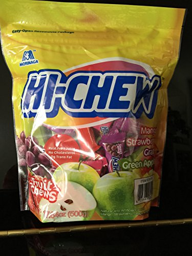 Morinaga Hi -Chew Assorted Flavored 17.64 oz 100+ Individually Wrapped Fruit Chews Mango Grape Strawberry Green Apple
