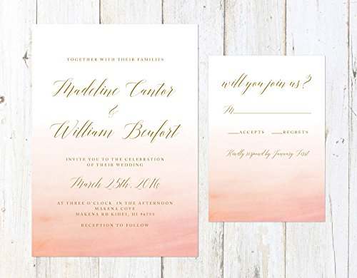 Peach Ombre Wedding Invitation, Coral Wedding Invitation, Gold and Coral Wedding Invitation -