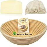 """WALFOS 10"""" Round Banneton Proofing Basket Set - 100% Natural Rattan French Style Artisan Bread Bakery Basket,Dough Scraper/Cutter & Brotform Cloth Liner Included - for Professional & Home Bakers"""
