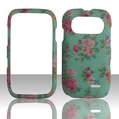 Turquoise Rose Flower Zte Z432 At&t Gophone Zte Altair 2 Cricket Phone Cover Protector Case - Turquoise Faceplates