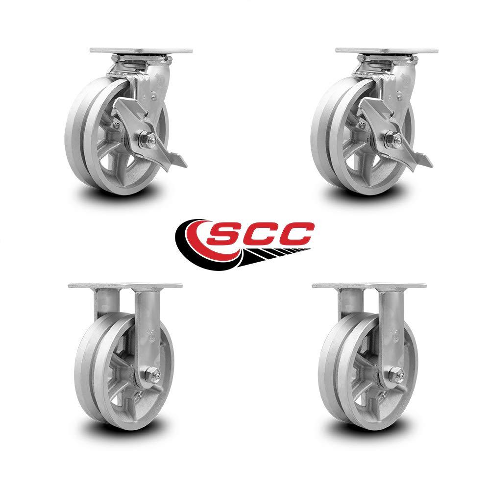 "Set Of 2 4/"" Steel V Groove Wheel"
