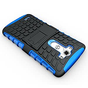 JBG Blue Tough Rugged Dual Layer Protection Case Cover with Build in Stand for LG G3