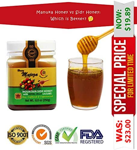 Mujeza Authentic Mountain Sidr Honey (Jujube) with Royal Jelly, Equal to Manuka Effectiveness Unheated Unfiltered Unprocessed 100% Natural Raw Liquid Honey (Different Sizes Available) (250g / 8.8oz)
