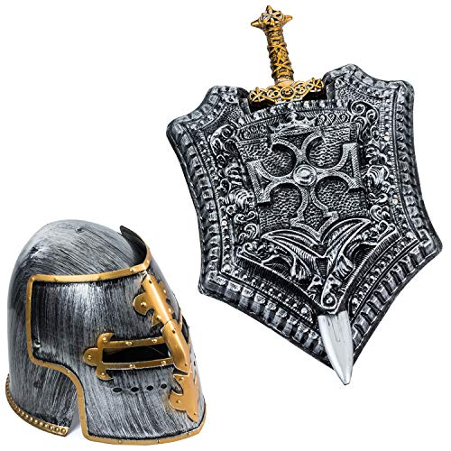 Tigerdoe Gladiator Costume - Helmet, Shield, Sword - Roman Armor - Knight - 3 Pc Set - Costumes for Men -