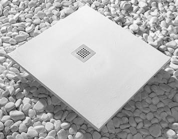 Plato de ducha pizarra 90x160cm STRATO Resina Mineral con desagüe incluido BLANCO