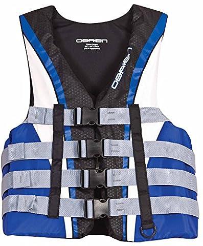 O'Brien Men's 4 Buckle Nylon Pro Life Vest (Blue/White/Black, 5X-Large, Chest 62-68-Inch) (Life Vests 5x)