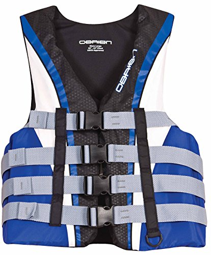 O'Brien Men's 4 Buckle Nylon Pro Life Vest (Blue/White/Black, 4X-Large, Chest 56-62-Inch) (Mens 4 Buckle Vest)